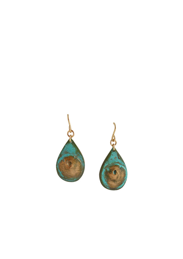 Turquoise Patina Copper Drop Earrings
