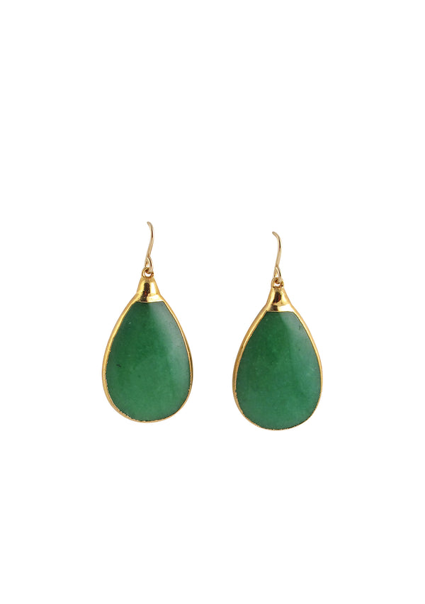 Green Jade in Gold Foil Earrings