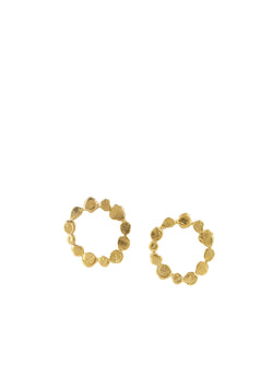 Gold Irregular Circle Post Earrings