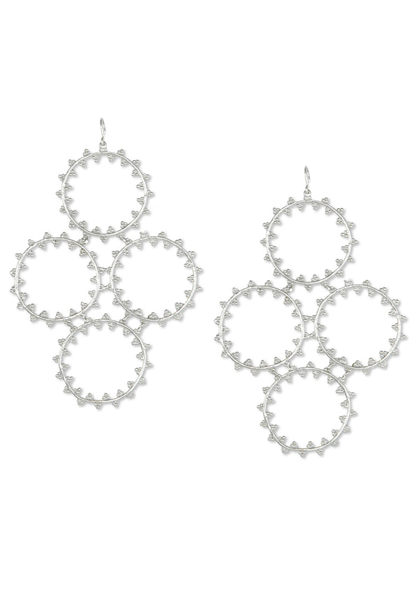 Rhodium Textured Multi-Circle Earrings
