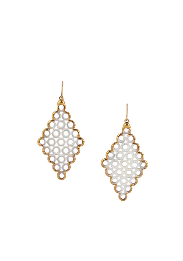 Mother of Pearl Filigree in Gold Foil Earrings