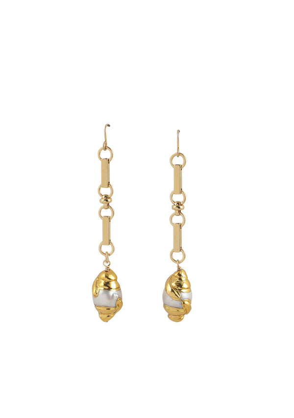 Freshwater Pearl Gold Bezel Dangle Earrings