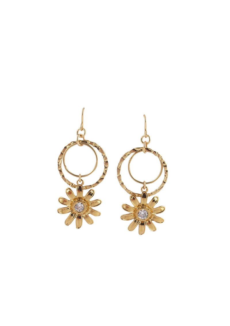 Diamond Illusion Gold Flower Dangle Earrings