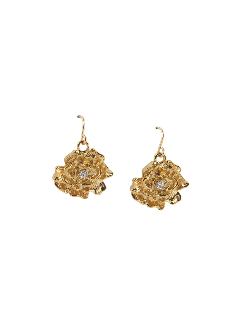 Diamond Illusion Gold Flower Earrings