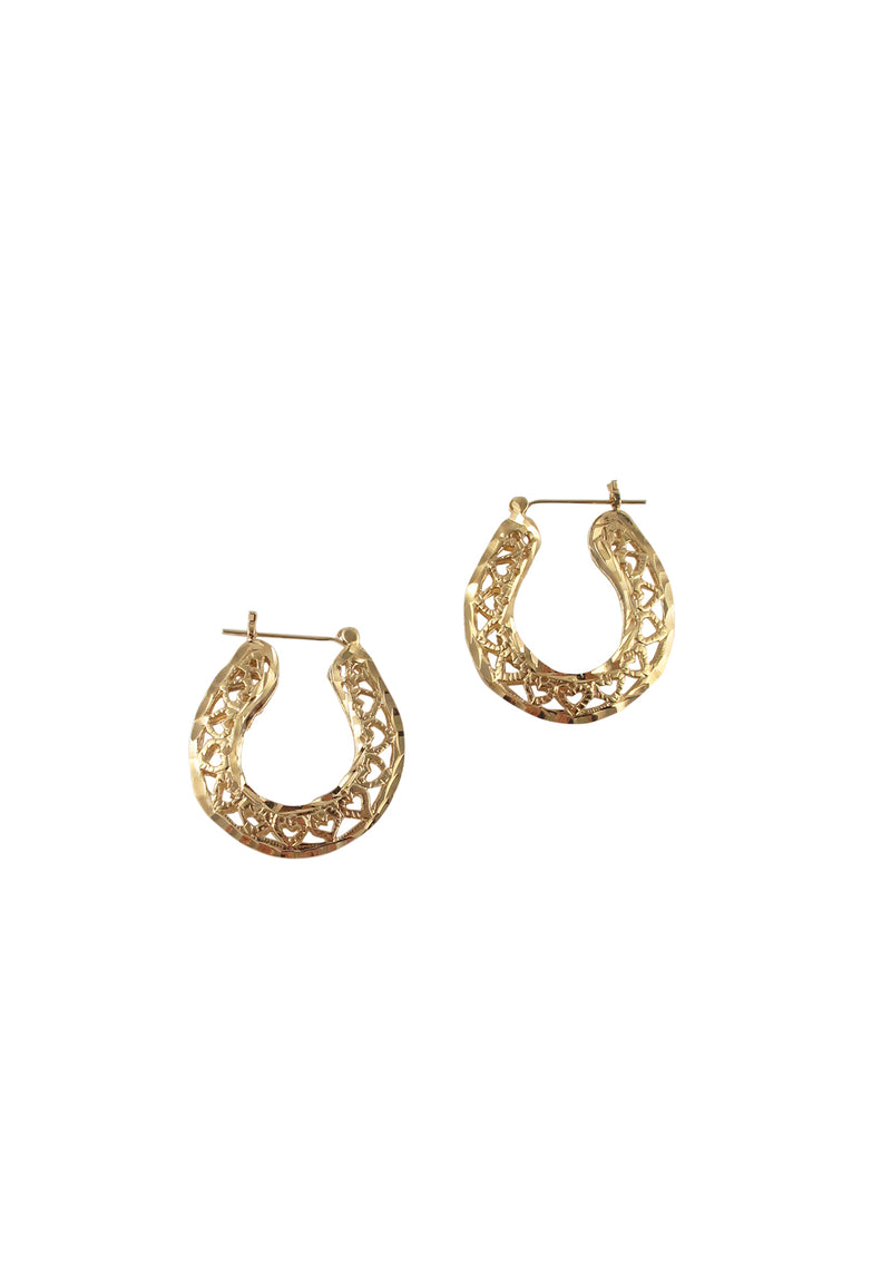 Gold Filigree Post Hoop Earrings