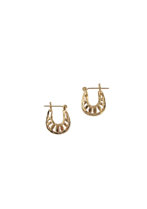 Small Gold Filigree Post Hoop Earrings