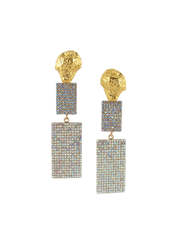 Crystal Sparkle Gold Nugget Post Earrings