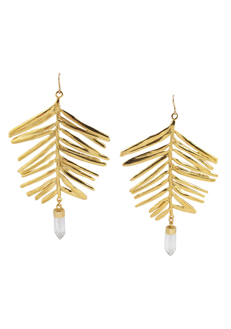 Large Gold Leaf Clear Quartz in Gold Foil Earrings
