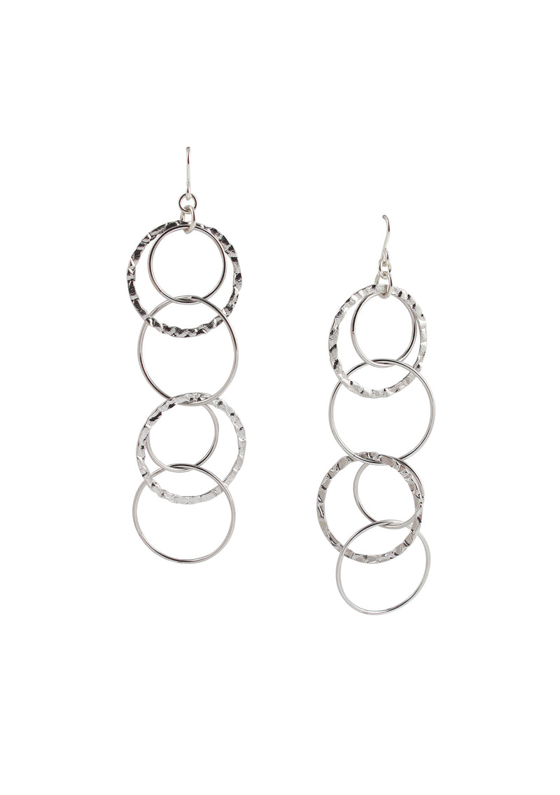 Rhodium Multi Circle Dangle Earrings