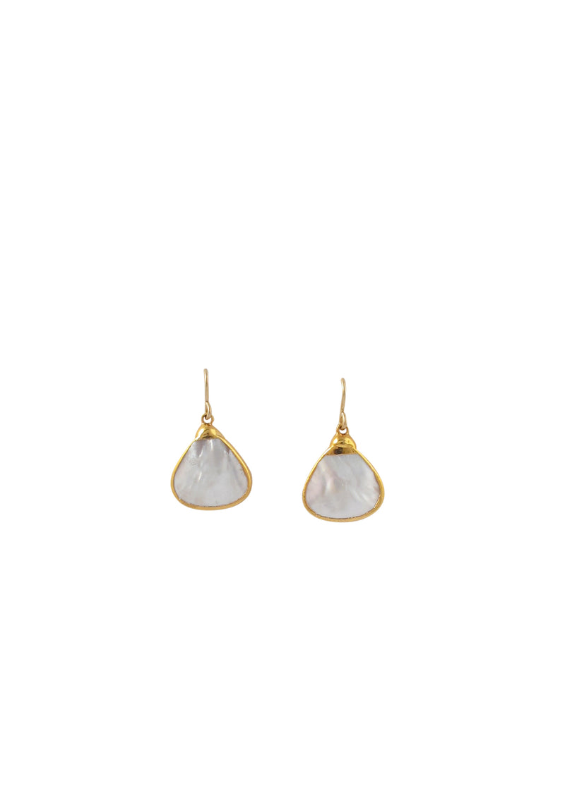 Mother of Pearl in Gold Foil Earrings