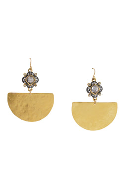 Diamond Illusion Gold Wedge Earrings