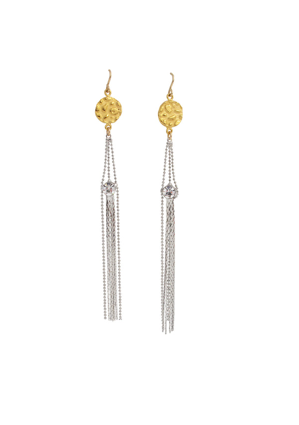 Two-Tone Gold and Silver Tassel Earrings