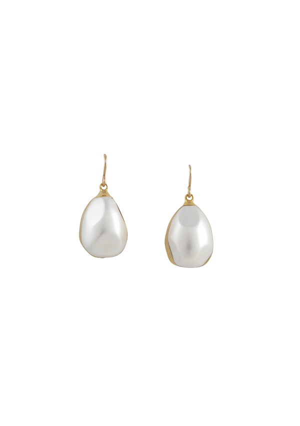 Pearl in Gold Foil Drop Earrings