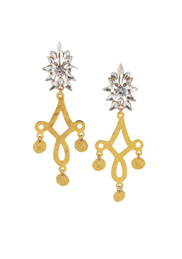 Gold Filigree Crystal Post Chandelier Earrings