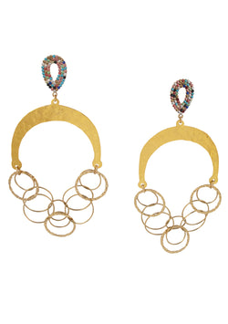 Cascading Chain Multi-Color Post Earrings