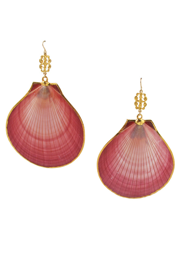 Pink Shell Gold Accent Earrings