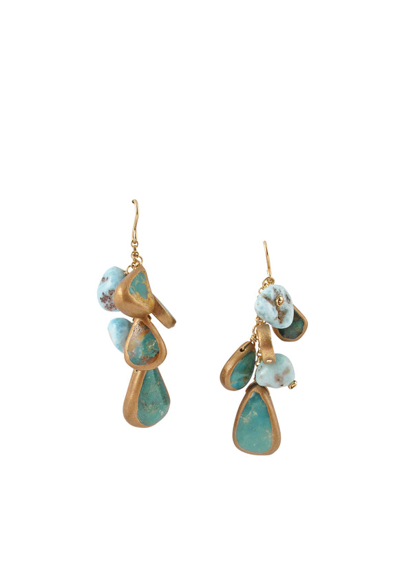 Larimar Turquoise Cluster Earrings