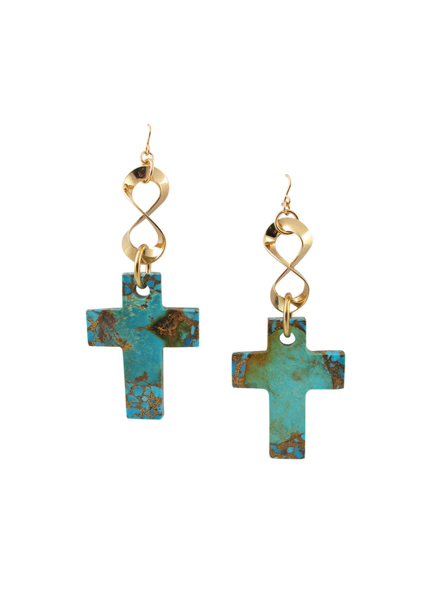 Copper Infused Turquoise Cross Infinity Earrings