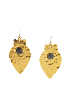 Hammered Gold Leaf Gun Metal Accent Earrings