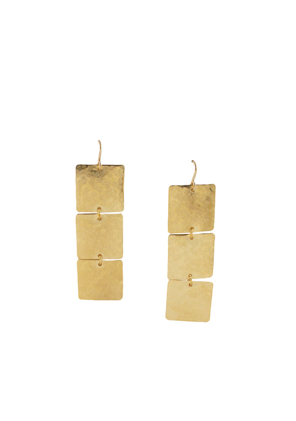 Triple Gold Square Drop Earrings