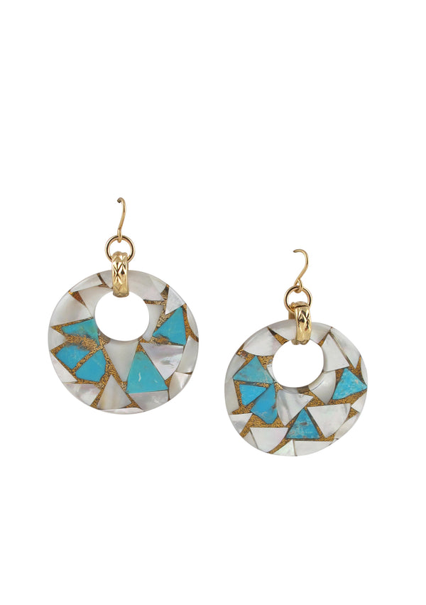 Turquoise Pearl Shell Earrings
