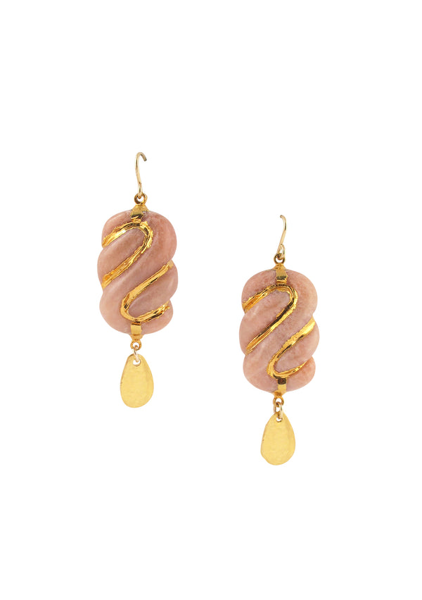 Pink Jade Gold Drop Earrings