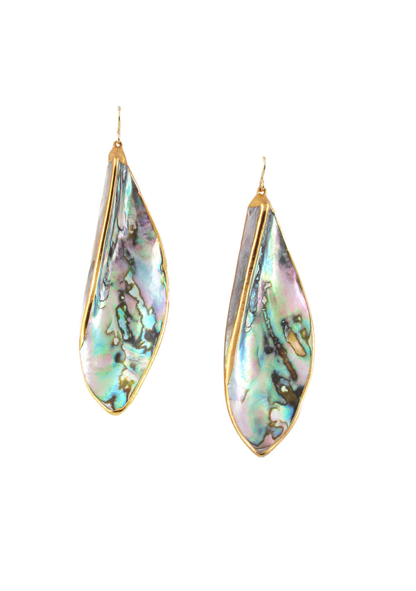 Abalone in Gold Foil Earrings