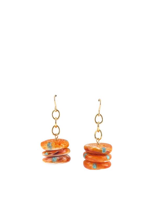 Orange Oyster Shell Earrings