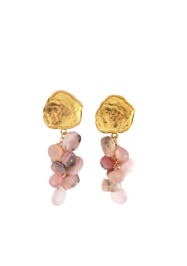 Pink Cluster Gold Post Earrings