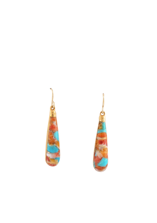 Oyster Shell and Turquoise Drop in Gold Foil Earrings