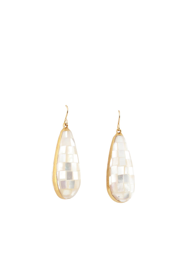 Pearl Mosaic in Gold Foil Drop Earrings