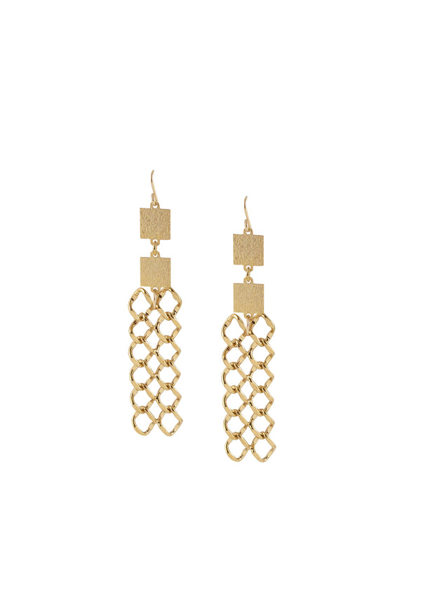Textured Gold Chain Earrings