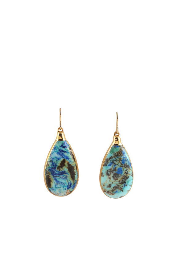 Azurite Drop in Gold Foil Earrings