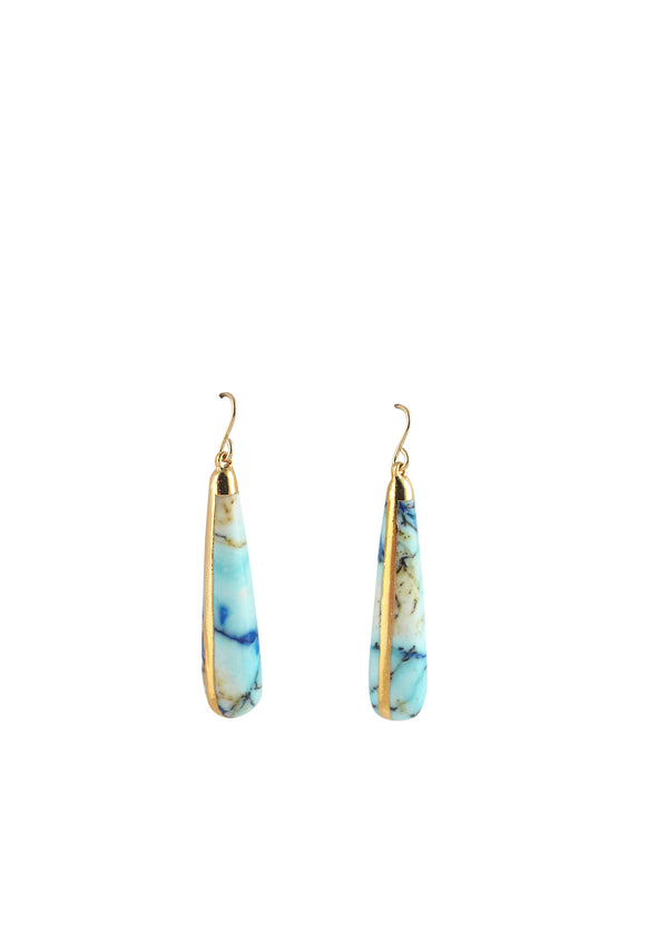 Azurite in Gold Foil Earrings