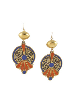 Lapis Coral Brass Ethnic Gold Accent Earrings