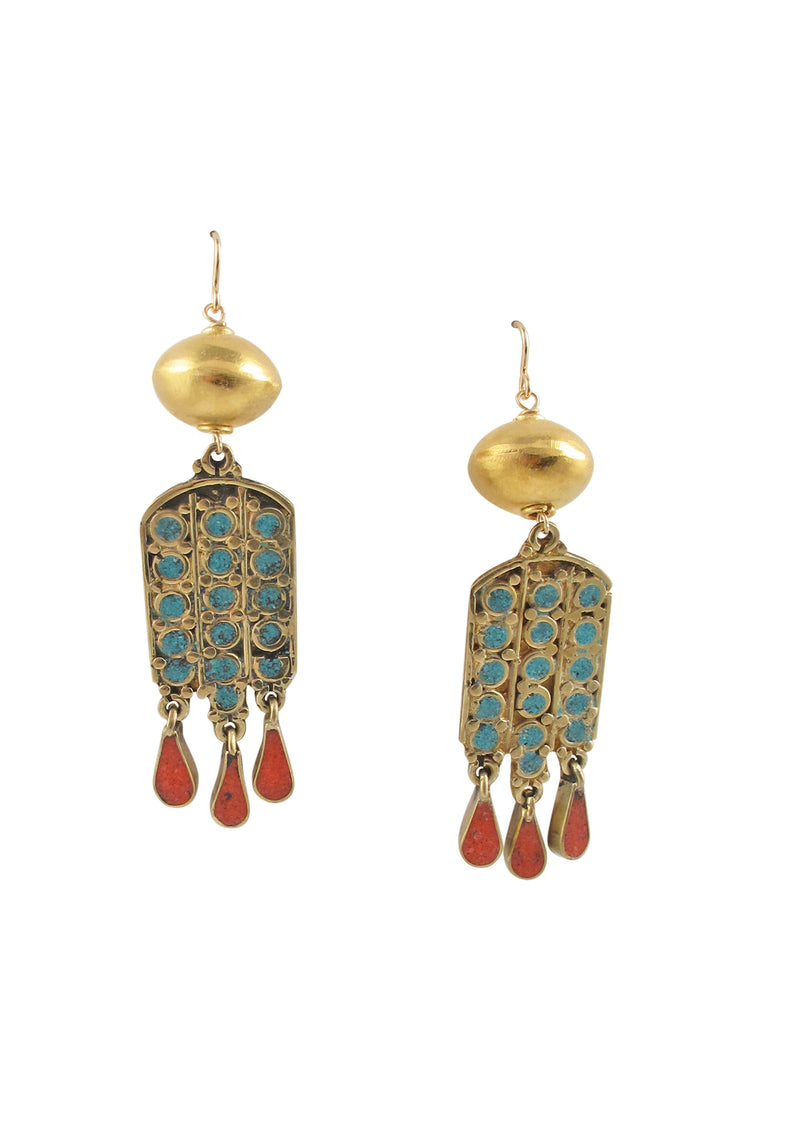 Ethnic Turquoise Coral Gold Accent Earrings