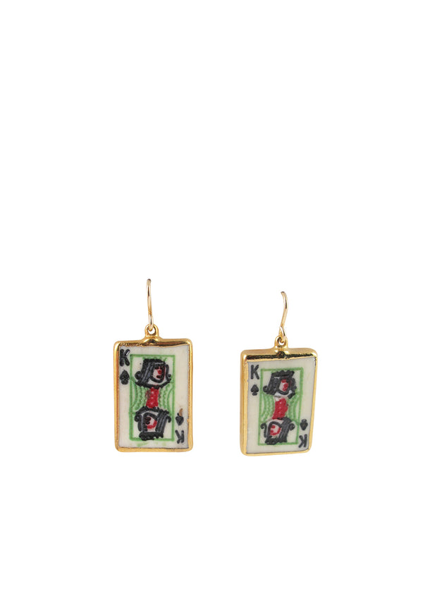 King Card in Gold Foil Earrings