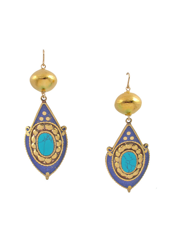 Lapis and Turquoise Gold Accent Earrings