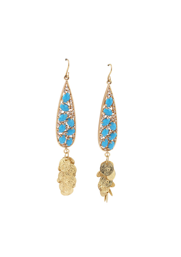 Turquoise Diamond Illusion Bezel Gypsy Coin Earrings
