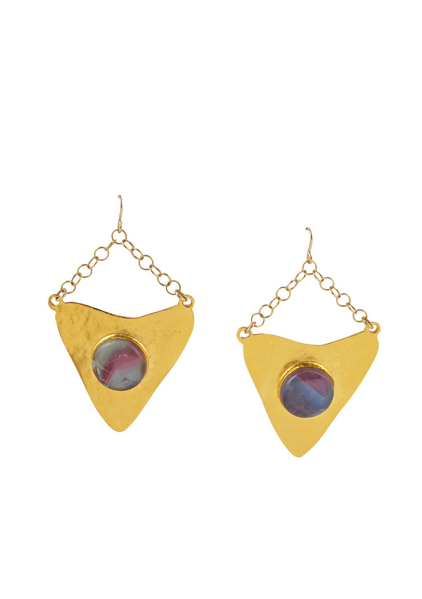 Fluorite Gold Arrowhead Earrings