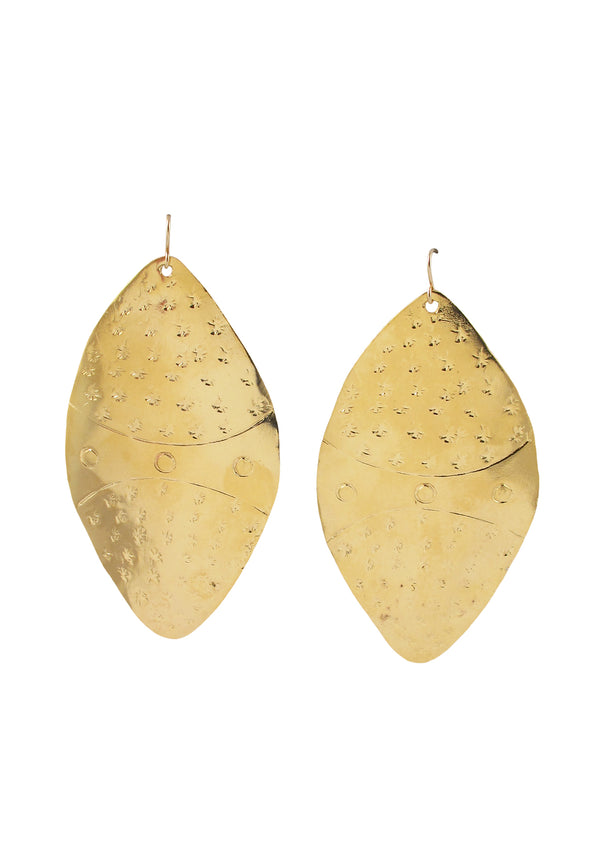 Large Gold Etched Earrings