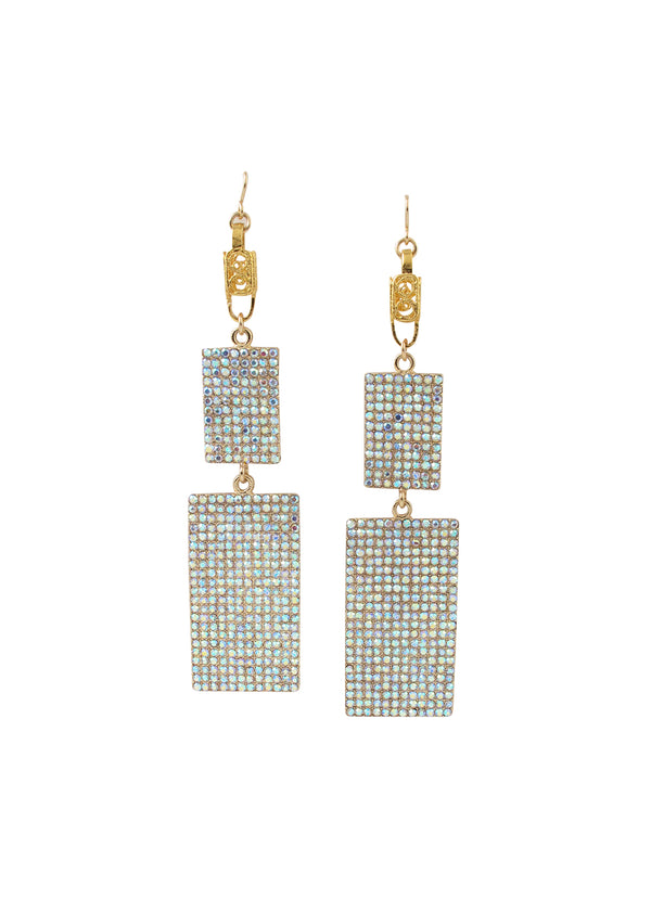 Crystal Cluster Plate Gold Accent Earrings