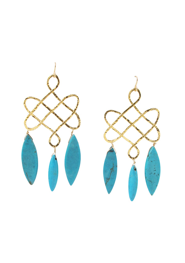 Sleeping Beauty Turquoise Gold Trellis Earrings