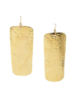 Large Gold Etched Rectangular Earrings