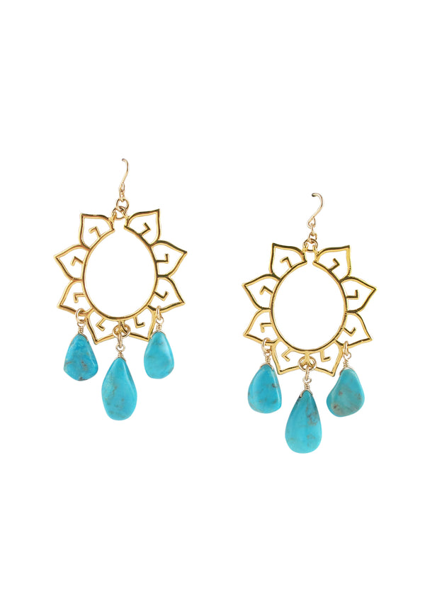 Turquoise Gold Filigree Chandelier Earrings