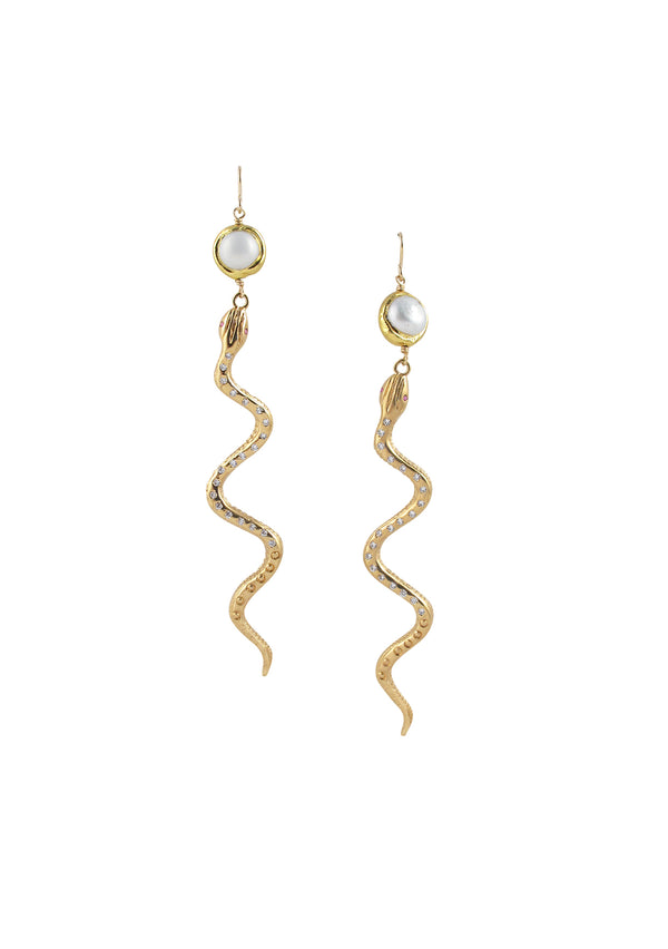 Diamond Illusion Gold Snake Pearl Earrings