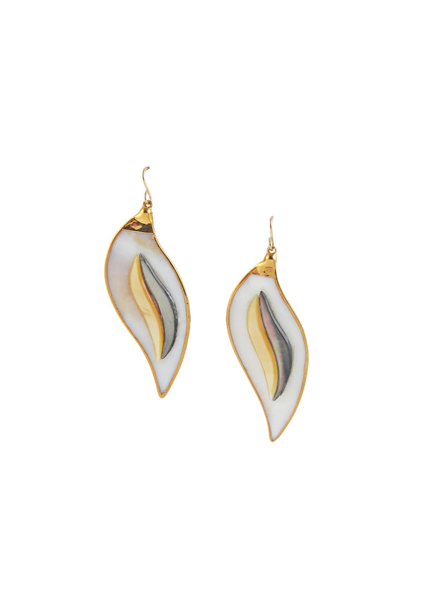 Two-Tone Mother of Pearl in Gold Foil Earrings