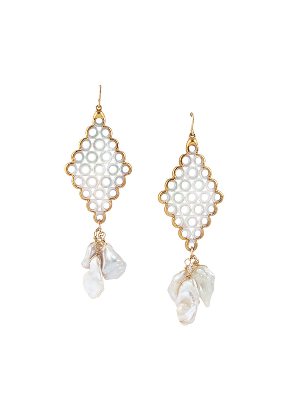 Freshwater Pearl Filigree in Gold Foil Earrings