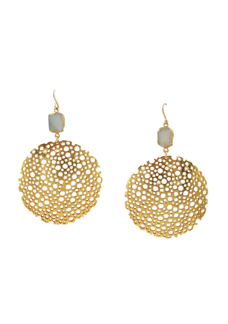 Blue Drusy Gold Carved Disc Earrings