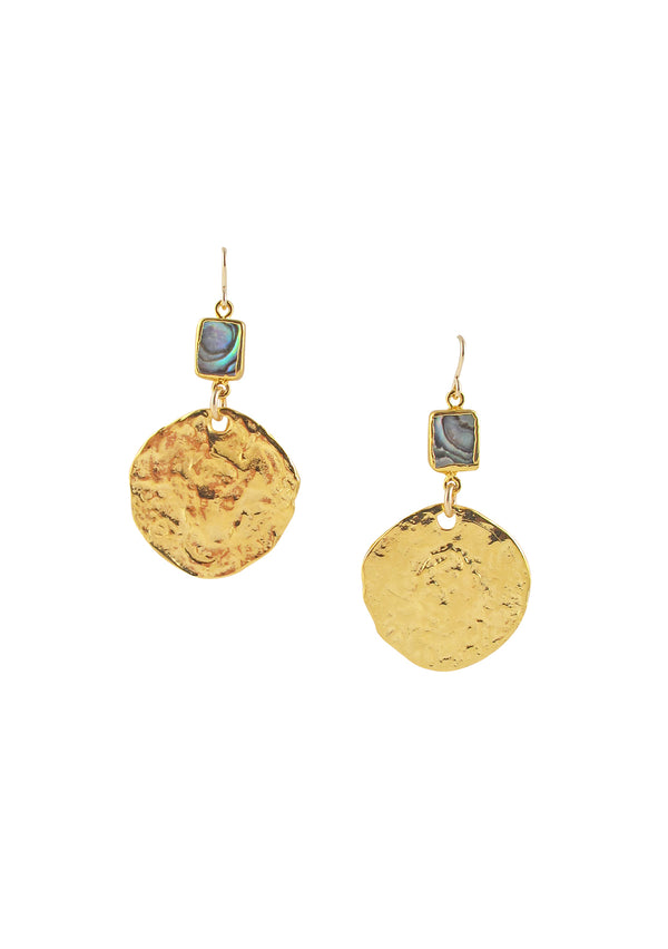 Abalone Gold Coin Earrings